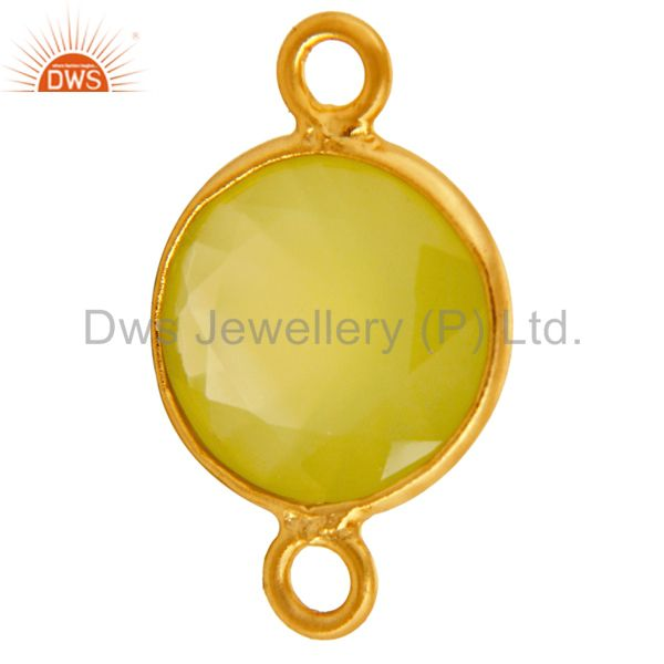 Suppliers 14K Gold Plated Sterling Silver Yellow Chalcedony Bezel Setting Stone Connector