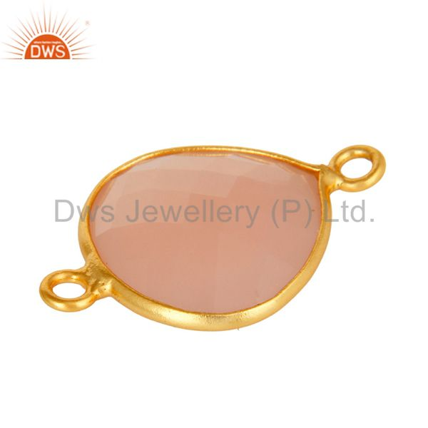 Suppliers Sterling Silver Rose Chalcedony Faceted Bezel Gemstone Component Connector