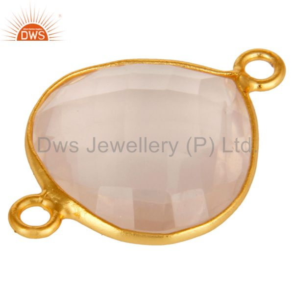 Suppliers Natural Rose Quartz Gemstone Sterling Silver Heart Shape Connector With Gold Pla