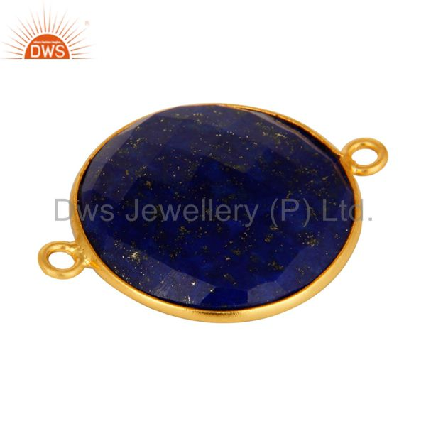 Suppliers 925 Sterling Silver Natural Lapis Lazuli Gemstone Connector With Gold Plated