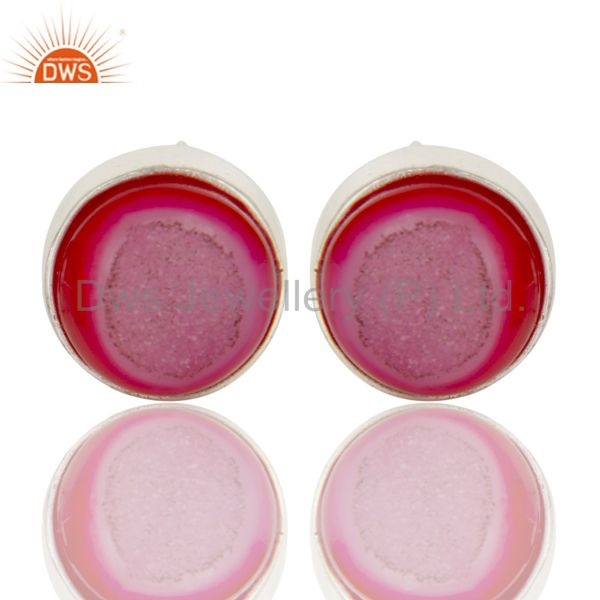 Suppliers 925 Sterling Silver Natural Pink Agate Druzy Bezel-Set Stud Earrings For Women
