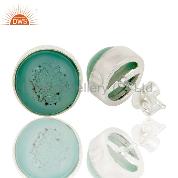 Suppliers 925 Sterling Silver Natural Green Druzy Bezel-Set Stud Earrings For Women