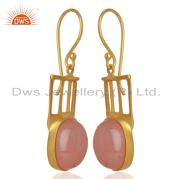 Wholesalers Natural Rose Quartz Gemstone Designer Earrings - Yellow Gold Plated