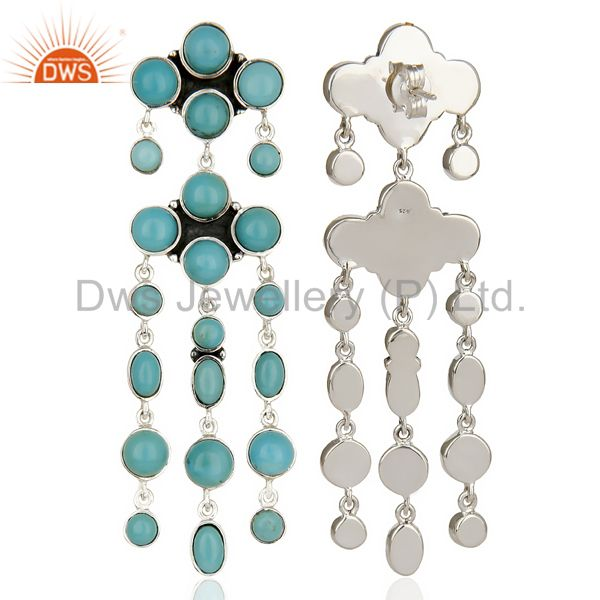 Suppliers Natural American Arizona Turquoise Dangle 92.5 Sterling Silver Earring