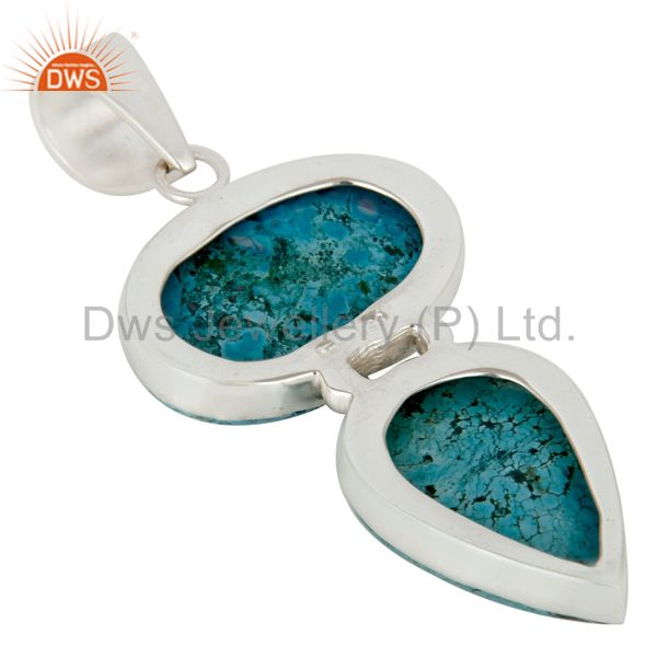 Suppliers Handmade Solid Sterling Silver Turquoise Gemstone Bezel Set Pendant Jewelry