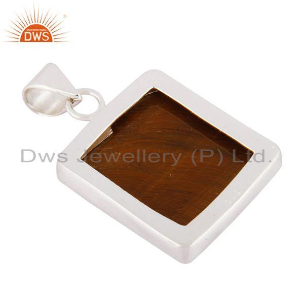 Suppliers Indian Handcrafted Solid 925 Sterling Silver Natural Tiger Eye Gemstone Pendant