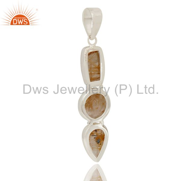 Suppliers Natural Rutilated Quartz Gemstone Handmade 925 Sterling Silver Pendant Jewelry