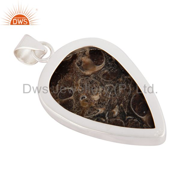 Wholesale Handmade Natural Turritella Agate Gemstone 925 Sterling Solid Silver Pendant In Jaipur