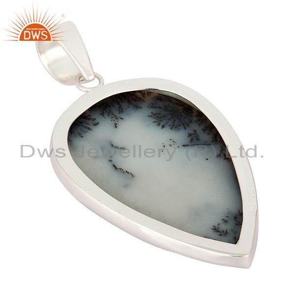 Suppliers Solid 925 Sterling Silver Natural Dendritic Opal Gemstone Handmade Pendant