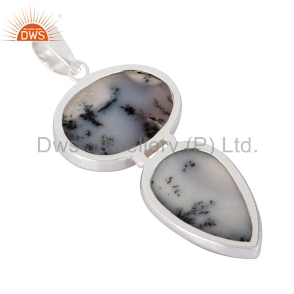 Suppliers Natural Dendritic Opal Gemstone Solid 925 Sterling Silver Handmade Pendant