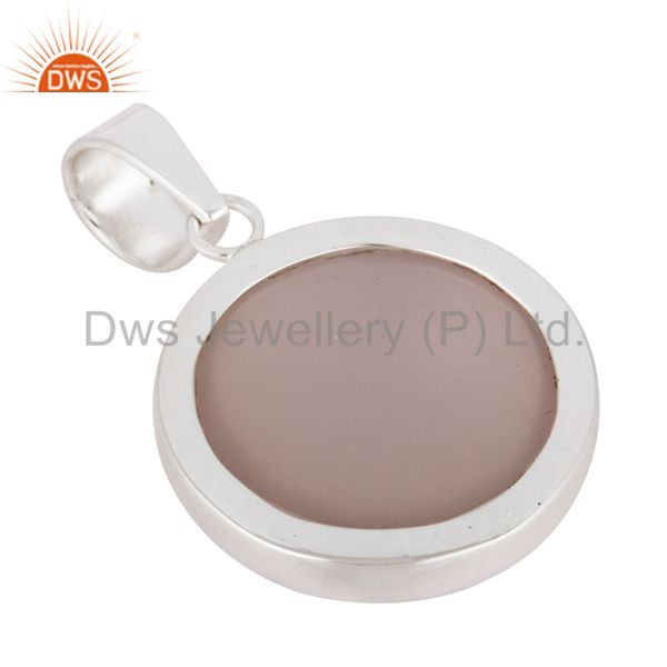 Wholesale Handmade Natural Rose Quartz Gemstone Pendant 925 Sterling Solid Silver Jewelry In India