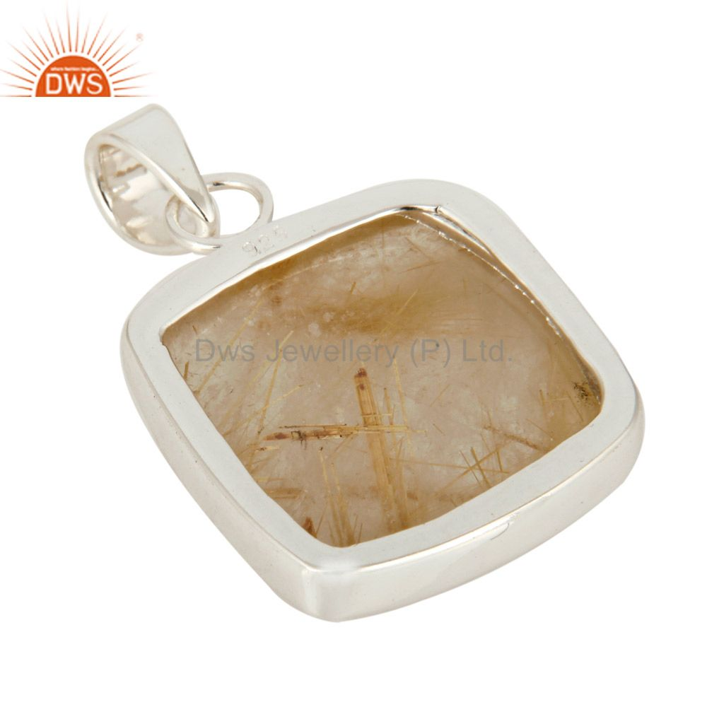Suppliers Rutilated Quartz Gemstone Solid 925 Sterling Silver Bezel-Set Handmade Pendant