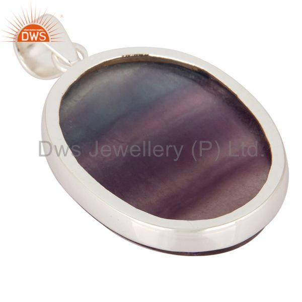 Suppliers Handmade Natural Rainbow Fluorite Gemstone 925 Solid Sterling Silver Pendant