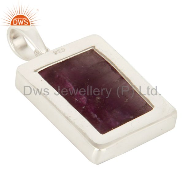 Suppliers Handmade 925 Solid Sterling Silver Natural Rainbow Fluorite Bezel Set Pendant