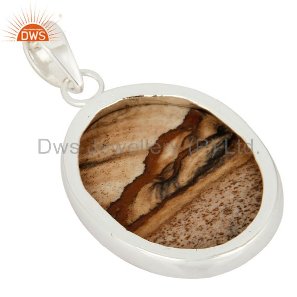 Suppliers Artisan Hadncrafted Sterling Silver Picture Jasper Bezel-Set Gemstone Pendant