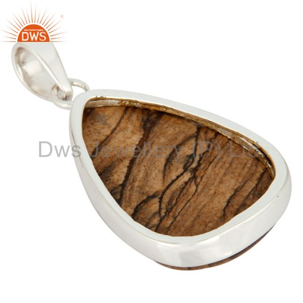 Supplier of Natural Picture Jasper 925 Sterling Silver Gemstone Bezel Set Pendant Jewelry In Jaipur