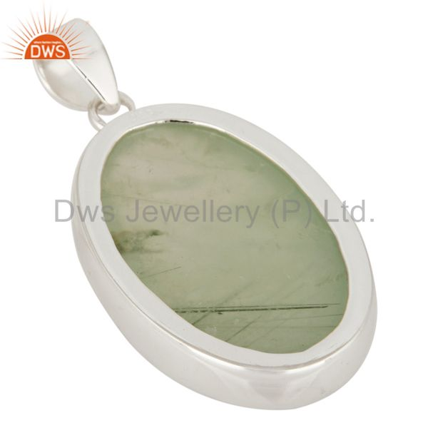 Suppliers Natural Prehnite Bezel-Set Gemstone Pendant Handcrafted In Solid Sterling Silver