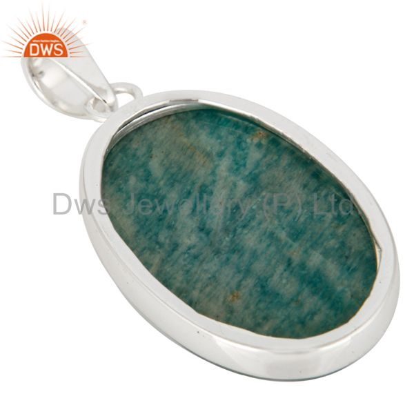 Suppliers Natural Amazonite Gemstone Solid 925 Sterling Silver Handmade Pendant