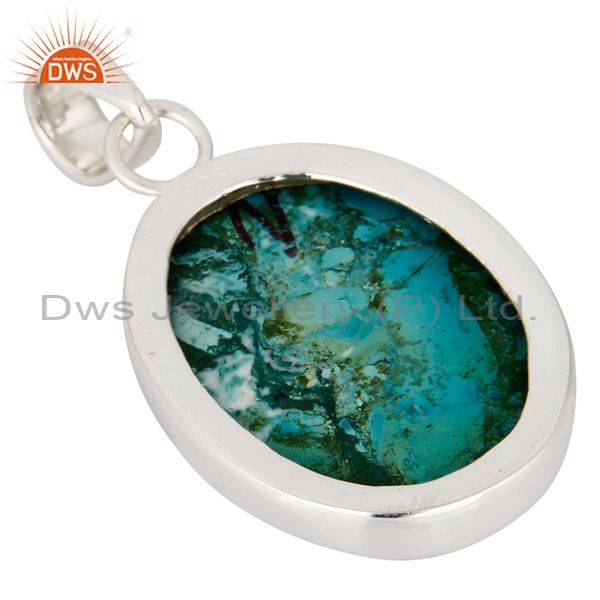 Suppliers Solid Sterling Silver Genuine Turquoise Semi-Precious Stone Bezel-Set Pendant