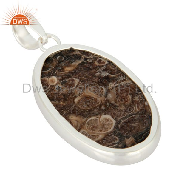Suppliers Solid 925 Sterling Silver Natural Turritella Agate Gemstone Bezel-Set Pendant