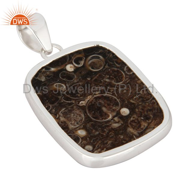Suppliers Natural Turritella Agate 925 Sterling Silver Bezel-Set Gemstone Pendant