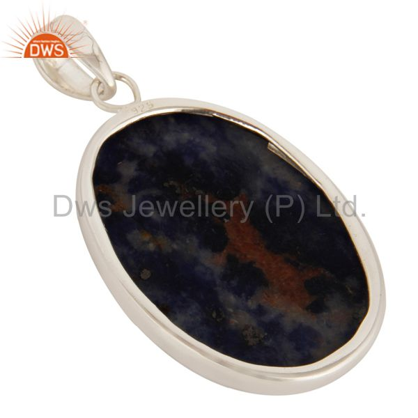 Suppliers Natural Sodalite Gemstone Bezel Set Handmade Solid Sterling Silver Pendant