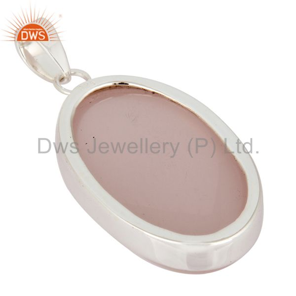 Suppliers Natural Rose Quartz Gemstone Bezel-Set Solid Sterling Silver Pendant