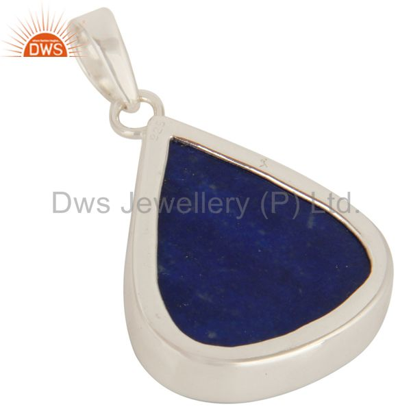 Suppliers Natural Lapis Lazuli Gemstone Bezel Set Pendant In Sterling Silver