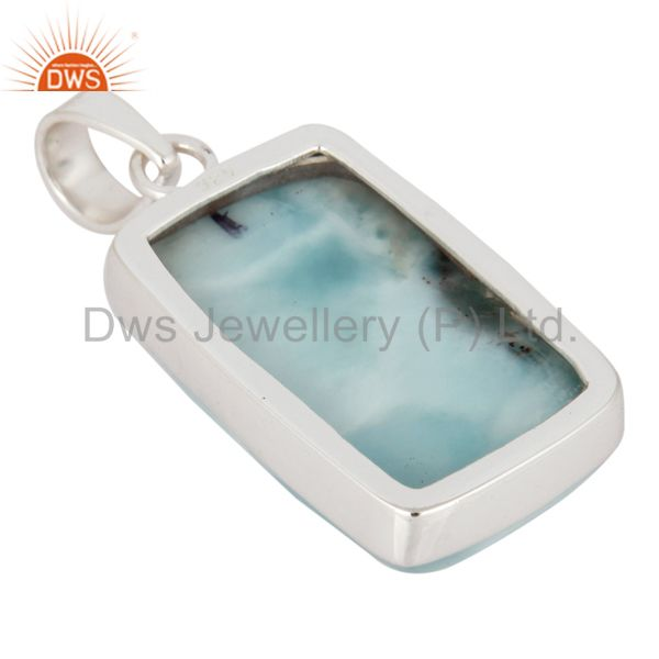 Suppliers Natural Larimar Gemstone Pendant Solid 925 Sterling Silver Handmade Jewelry