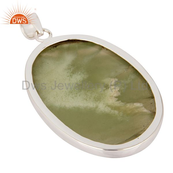 Suppliers Genuine Lizardite Semi-Precious Stone Handmade 925 Sterling Silver Pendant