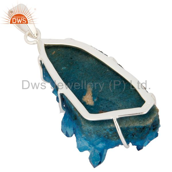 Manufacturer of Handcrafted Solid 925 Sterling Silver Titanium Sunshine Druzy Pendant In Jaipur