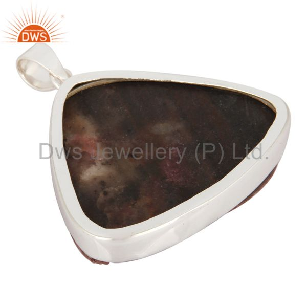 Suppliers Handmade 925 Sterling Silver Genuine Cobalto Calcite Druzy Bezel-Set Pendant
