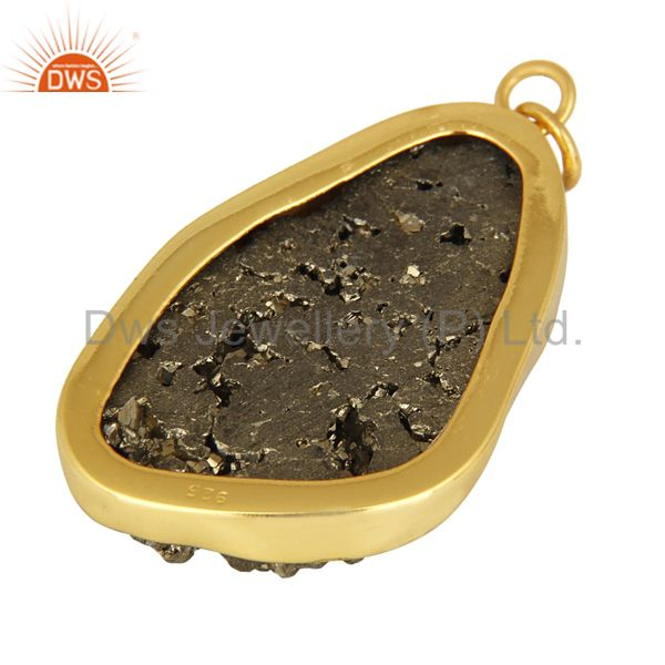Suppliers Gold Plated Sterling Silver Pyrite Druzy Pendant - Handmade Designer Jewelry