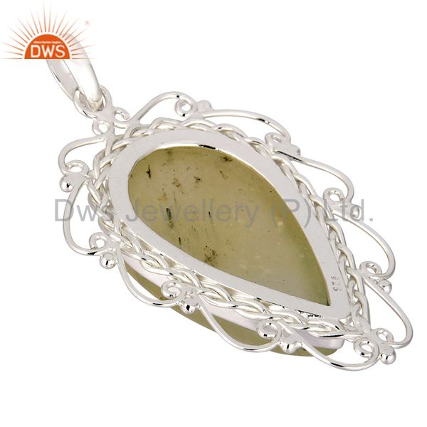 Suppliers Handcrafted Natural Prehnite Gemstone Solid 925 Sterling Silver Pendant