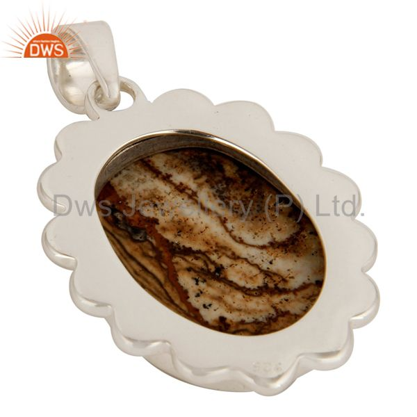 Suppliers 925 Sterling Silver Picture Jasper Gemstone Designer Pendant