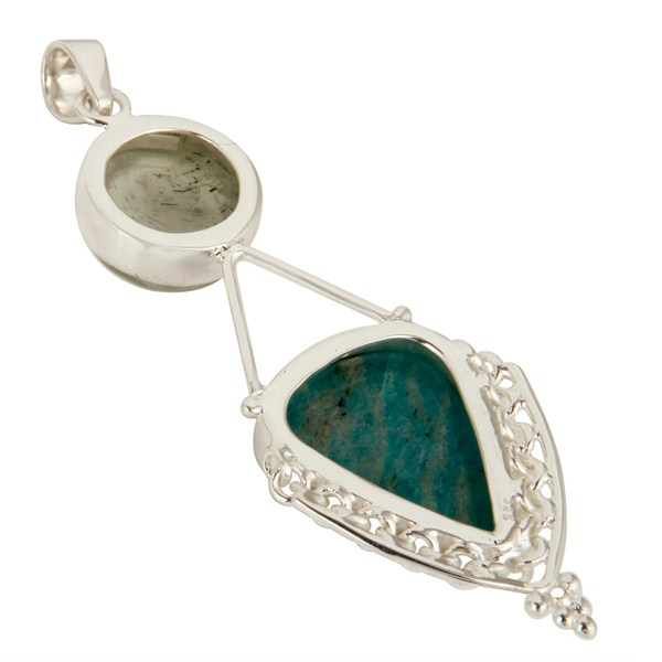 Suppliers Handmade Sterling Silver Amazonite And Prehnite Gemstone Pendant