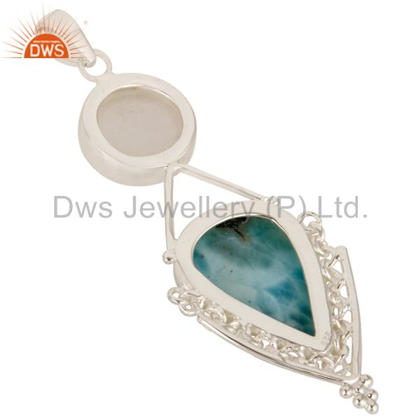 Suppliers Natural Rainbow Moonstone And Larimar Solid Sterling Silver Pendant