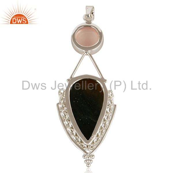 Suppliers Handmade Sterling Silver Rose Quartz And Vasonite Pendant