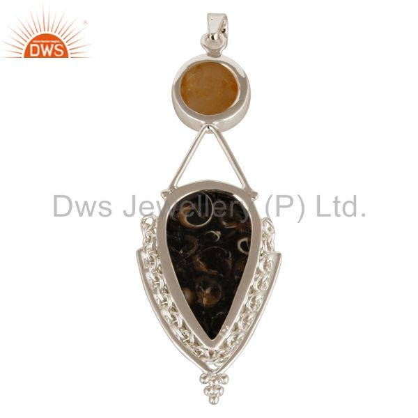 Suppliers Rutilated Quartz And Turritella Agate Pendant In Solid Sterling Silver