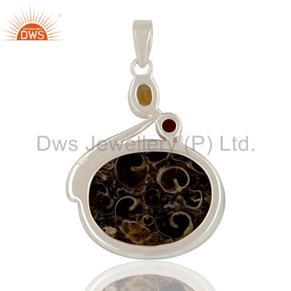 Suppliers Turitella Agate Citrine and Garnet Solid Sterling Silver Handmade Pendant