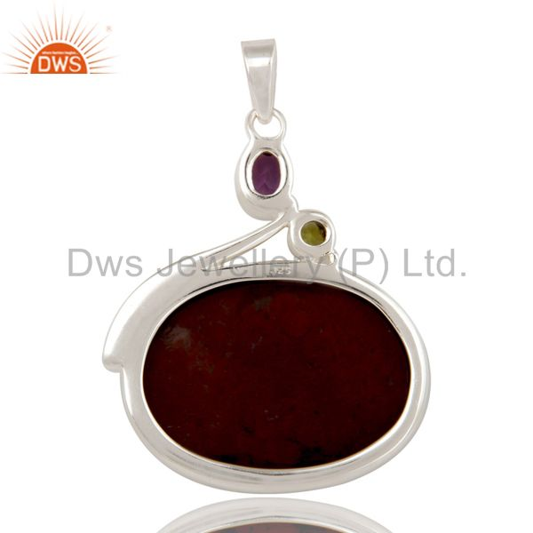 Suppliers Blood Stone, Amethyst and Peridot Solid Sterling Silver Handmade Pendant