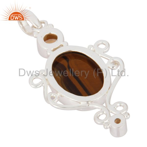 Suppliers Natural Citrine And Tiger Eye Gemstone Designer Pendant Made In 925 Solid Silver