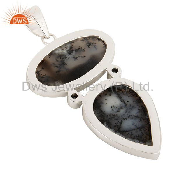 Suppliers Handmade Dendritic Opal And Blue Topaz Pendant Made In Solid Sterling Silver