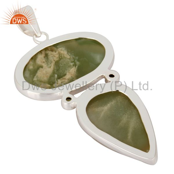 Suppliers Natural Prehnite And Peridot 925 Sterling Silver Pendant - Fine Jewelry