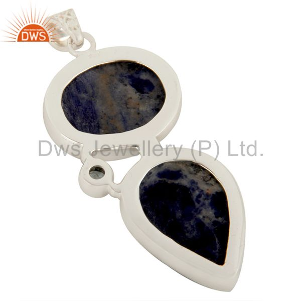 Suppliers Natural Sodalite And Blue Topaz Gemstone Pendant Made In Solid Sterling Silver