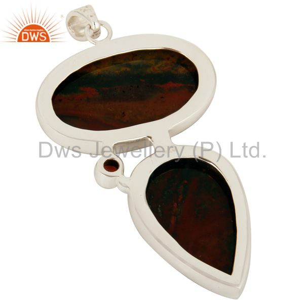 Suppliers 925 Sterling Silver Natural Blood Stone Bezel Set Pendant With Garnet