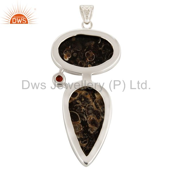 Suppliers Natural Garnet And Turritella Agate Sterling Silver Pendant