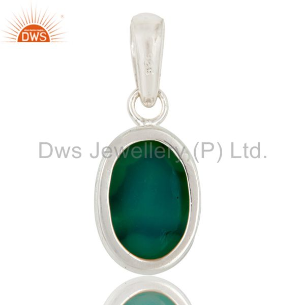 Suppliers Genuine 925 Sterling Silver Natural Green Druzy Agate Bezel Setting Pendant