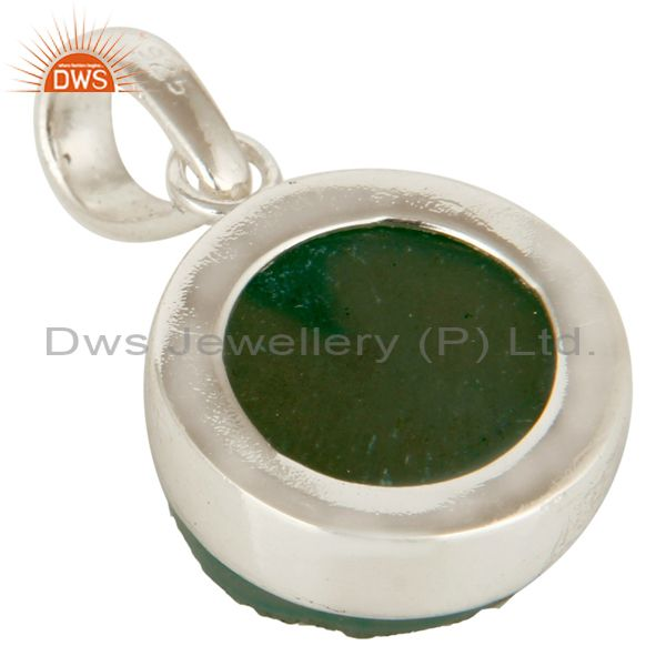 Suppliers Handmade Solid Sterling Silver Green Druzy Agate Bezel Set Pendant Jewelry