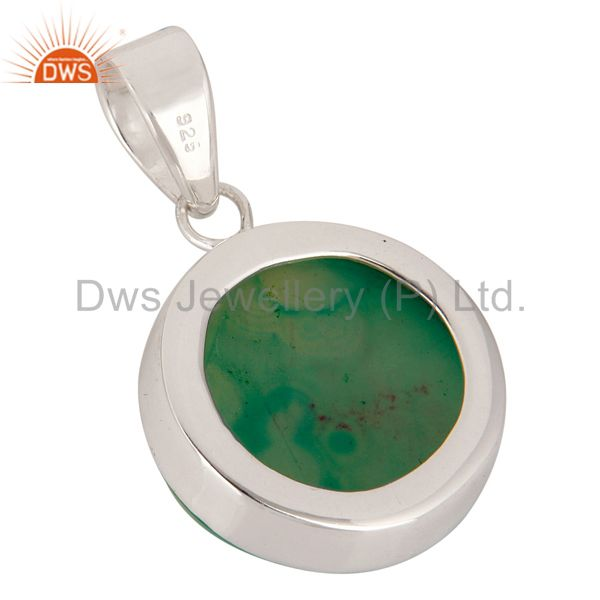 Suppliers Handmade Solid Sterling Silver Green Druzy Agate Bezel Set Pendant